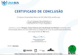 Certificado de conclusão do curso Dengue: Casos Clínicos para Atualização do Manejo